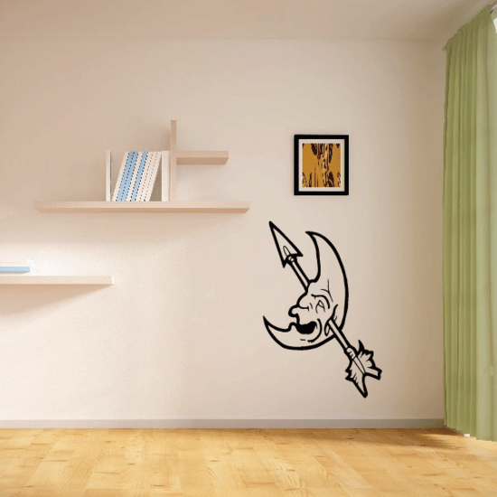 Laughing Moon Skull with Arrow Decal