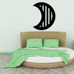Crescent Moon With Stripes Decal