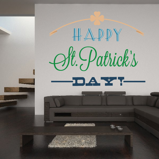 Clover Arc Happy St. Patrick's Day Printed Die Cut Decal