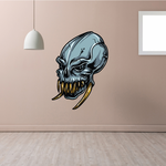 Toothy Alien Skull Sticker
