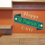 Happy St Patrick's Day Angled Banner Printed Die Cut Decal