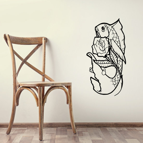 Rose and Goldfish Decal