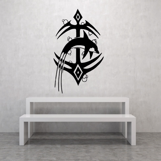 Tribal Anchor and Dolphin Decal