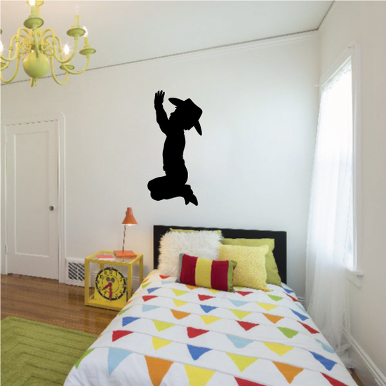 Hands in Air Praying Cowboy Decal