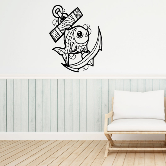 Chubby Goldfish and Anchor Decal