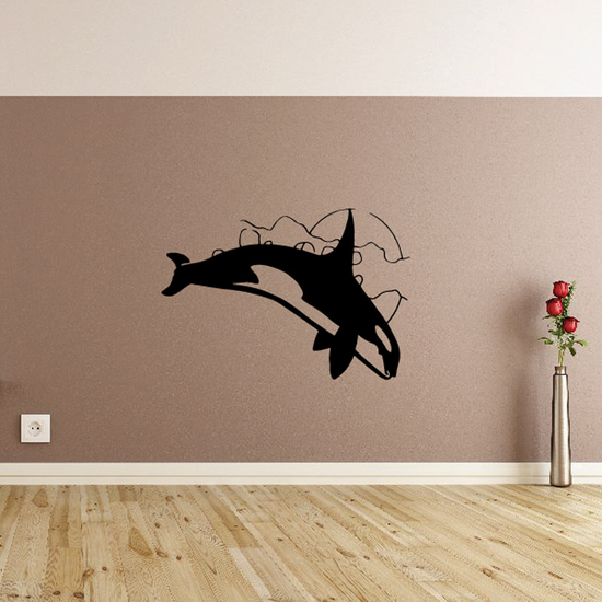 Moonlight Diving Orca Whale Decal