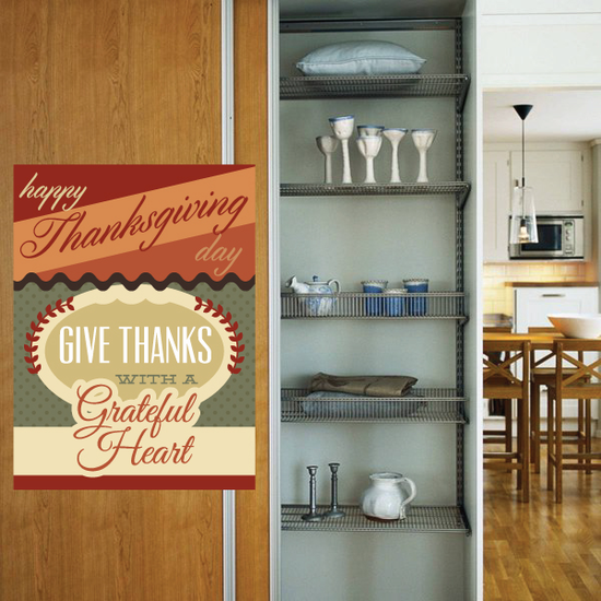 Happy Thanksgiving Day Give Thanks with a Grateful Heart Typography Sticker