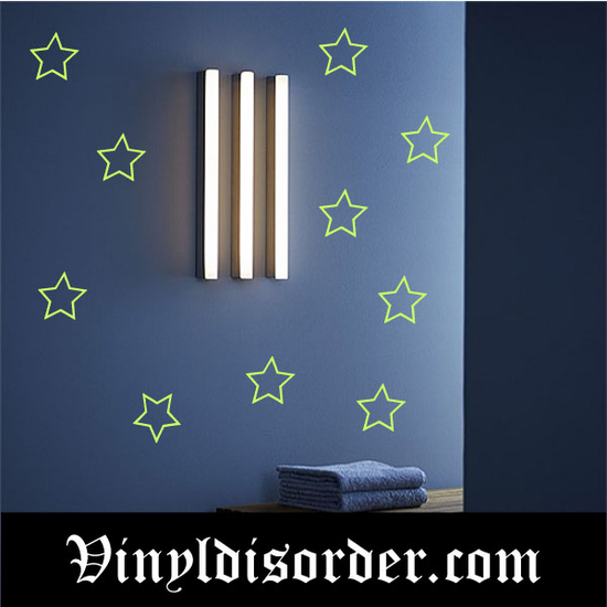 Glow in the Dark Stars Wall Decal - Vinyl Decal - Die Cut Decal - GDK22
