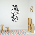 Swirl Seaweed and Seahorse Decal