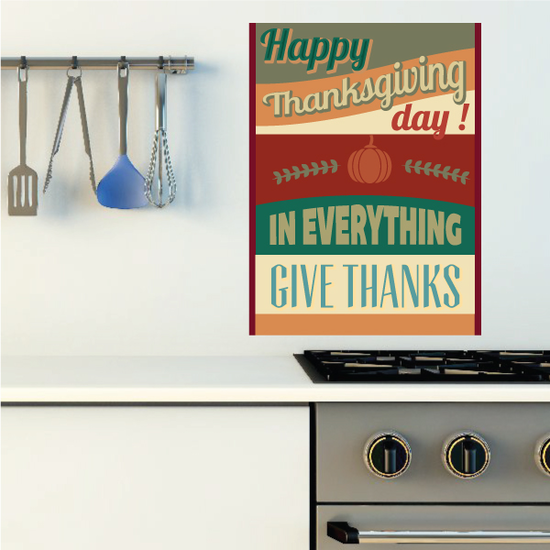 Happy Thanksgiving Day In Everything Give Thanks Typography Sticker