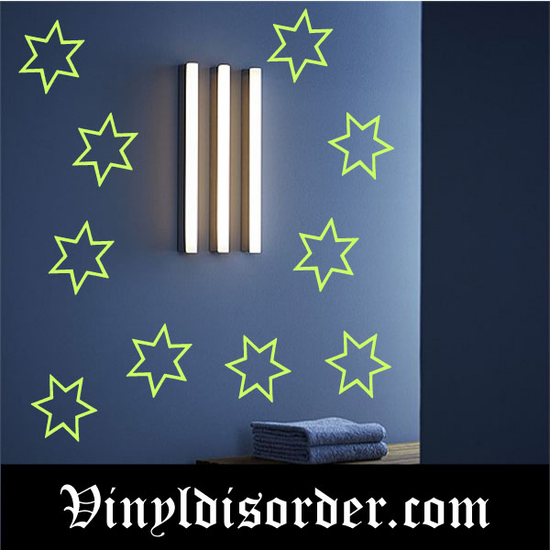 Glow in the Dark Stars Wall Decal - Vinyl Decal - Die Cut Decal - GDK25