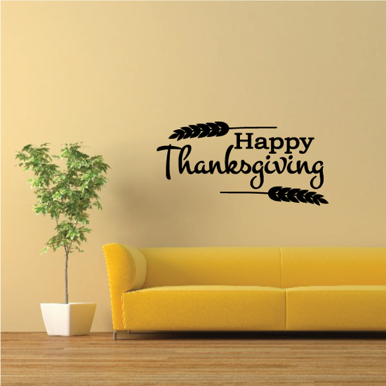 Happy Thanksgiving Wheat Framing Decal