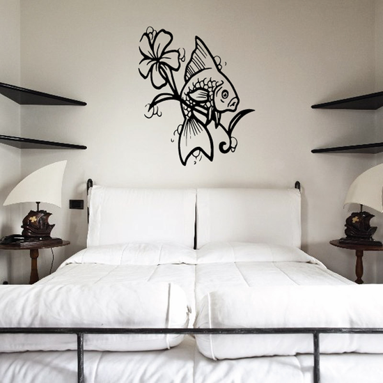 Long Stem Flower and Goldfish Decal
