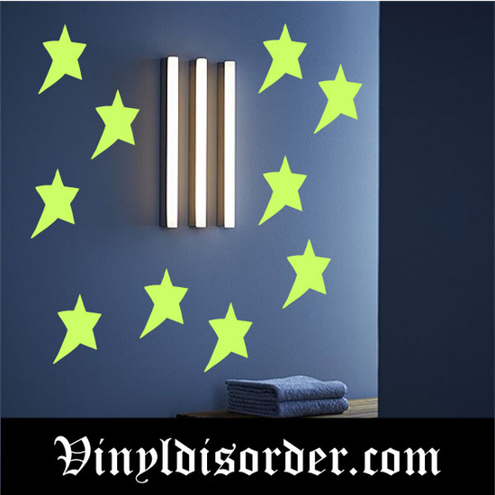 Glow in the Dark Stars Wall Decal - Vinyl Decal - Die Cut Decal - GDK36