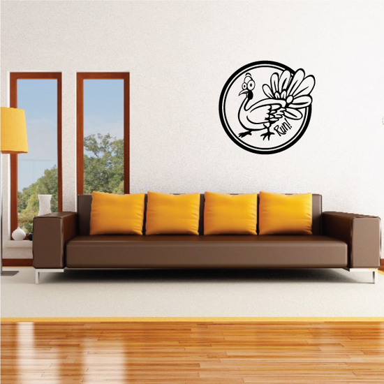 Funny Turkey Circle Frame Decal