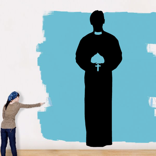 Priest Holding Rosary Decal