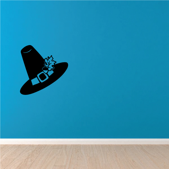 Pilgrim Hat with Leaf Thanksgiving Decal
