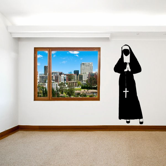 Religious Sister Nun Holding Rosary Decal