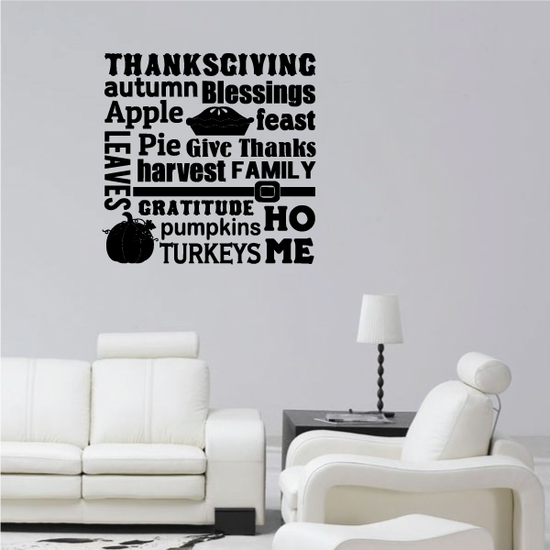 Thanksgiving Autumn Blessings Apple Home Decal