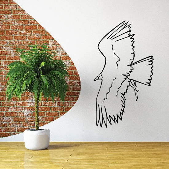 Wide Stretched Wings Bird Decal