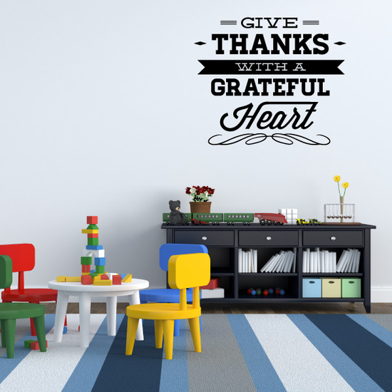 Give Thanks With a Grateful Heart Typography Decal