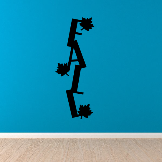 Vertical Fall Word with Leaves Decal