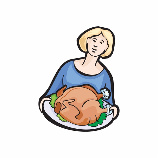 Woman Holding Thanksgiving Turkey Plate Decal