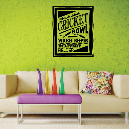 Cricket Word Collage Decal