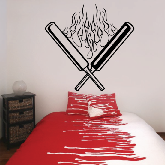 Crossed Flaming Cricket Bats Decal