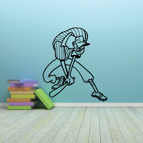 Cartoon Cricket Batter Decal