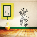 Practicing Cricket Player Decal