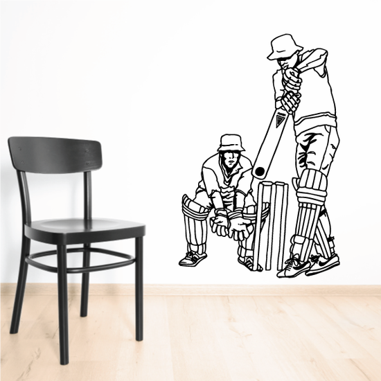 Cricket Catcher and Batter Decal