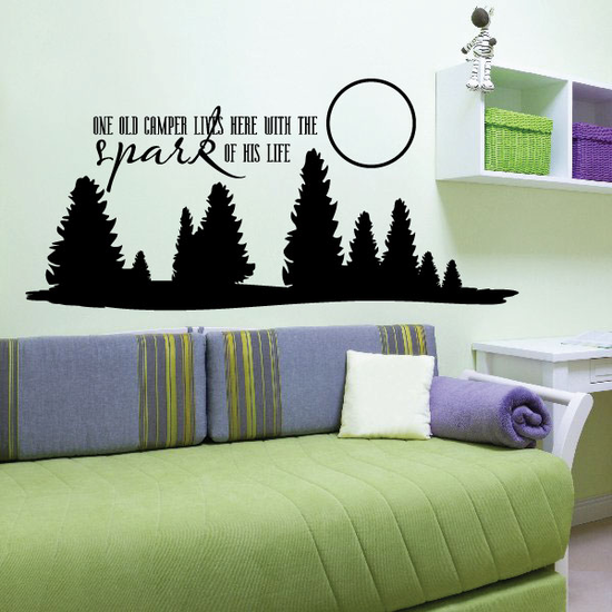 On old camper lives here with the spark of his life Wall Decal