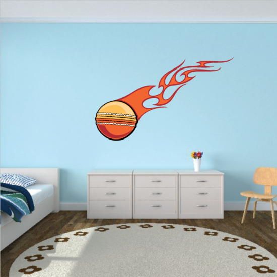 Flaming Cricket Ball Printed Die cut Decal