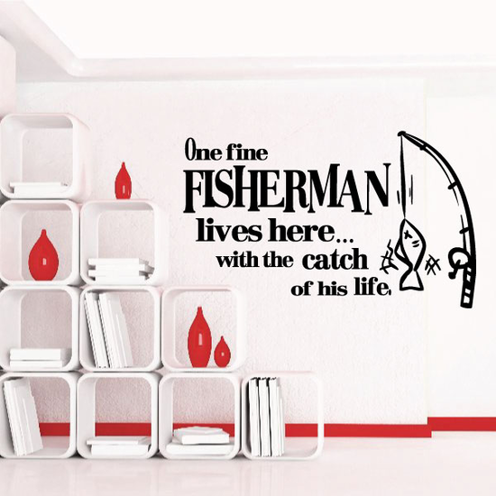 One Fisherman lives here Wall Decal
