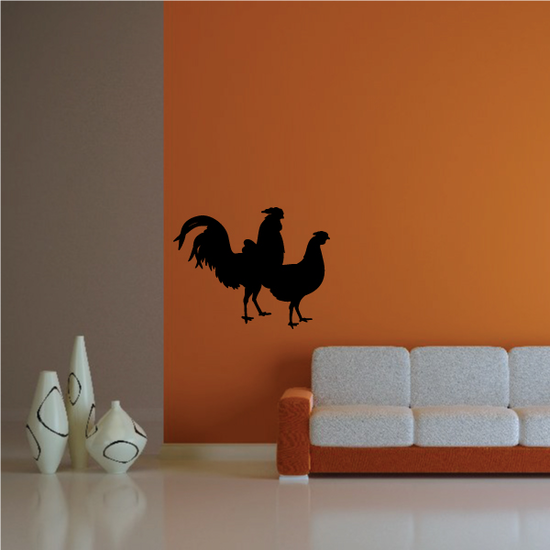 Rooster and Hen Decal