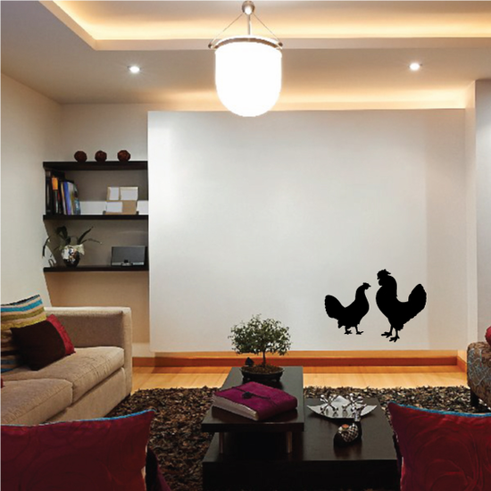 Chicken and Rooster Silhouette Decal