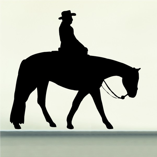 Quarter Horse Walking with Rider Decal