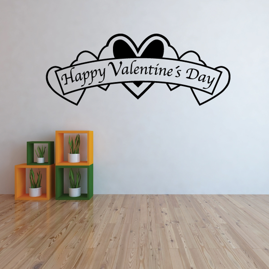 Happy Valentine's Day Hearts Decal