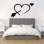 Hand Drawn Style Valentines Day Heart with Arrow Decal