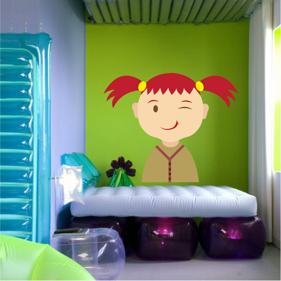 Red Head Girl with Pigtails Sticker