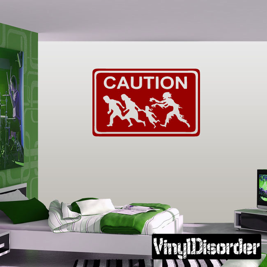 Zombies Caution Sign Decal