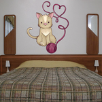 Cat with Yarn Heart Decal