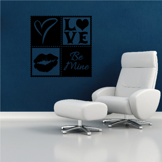 Heart Love Be Mine Kiss Frame Valentine's Day Motif Square Decal