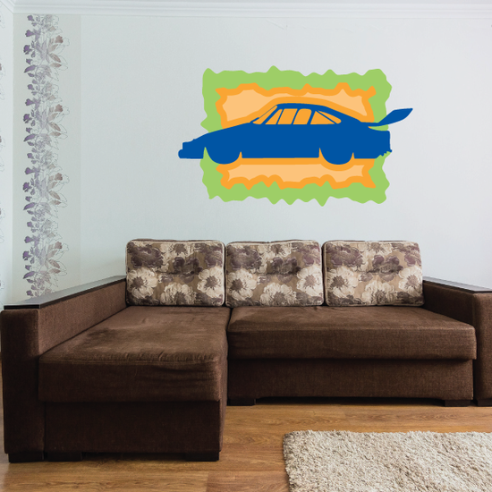 Orange And Green Stock Car Sticker
