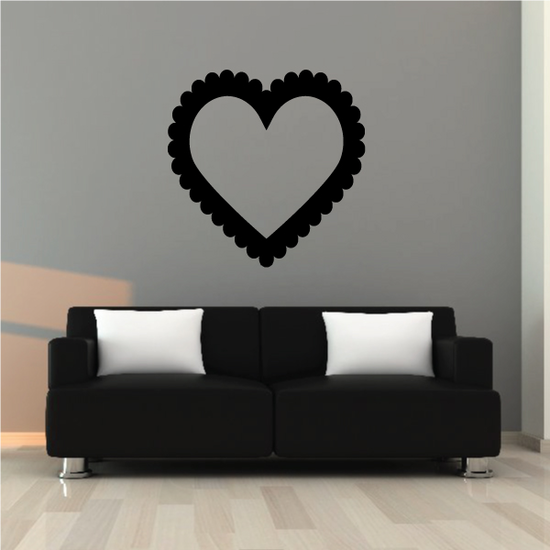 Scallop Heart Outline Frame Valentine's Day Decal