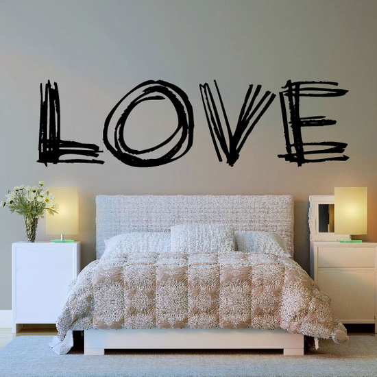 Scribbled Valentines Day LOVE Decal