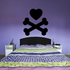 Valentines Day Heart Skull and Crossbones Decal