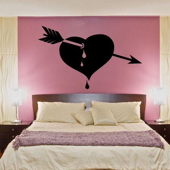 Dripping Valentines Day Heart with Arrow Decal