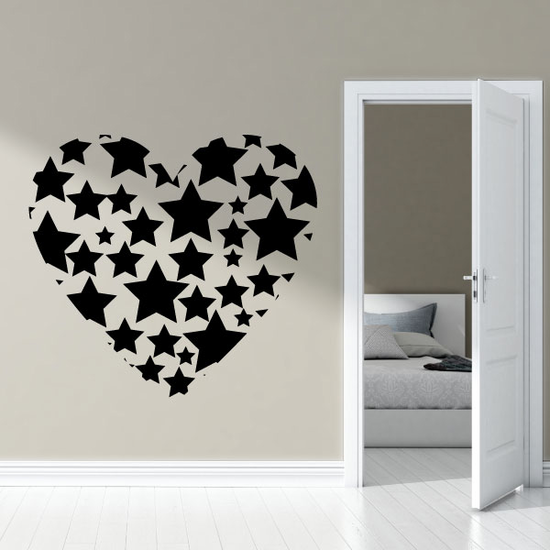 Valentines Day Stars Heart Decal